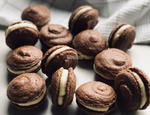 Chocolade-vanille macaron